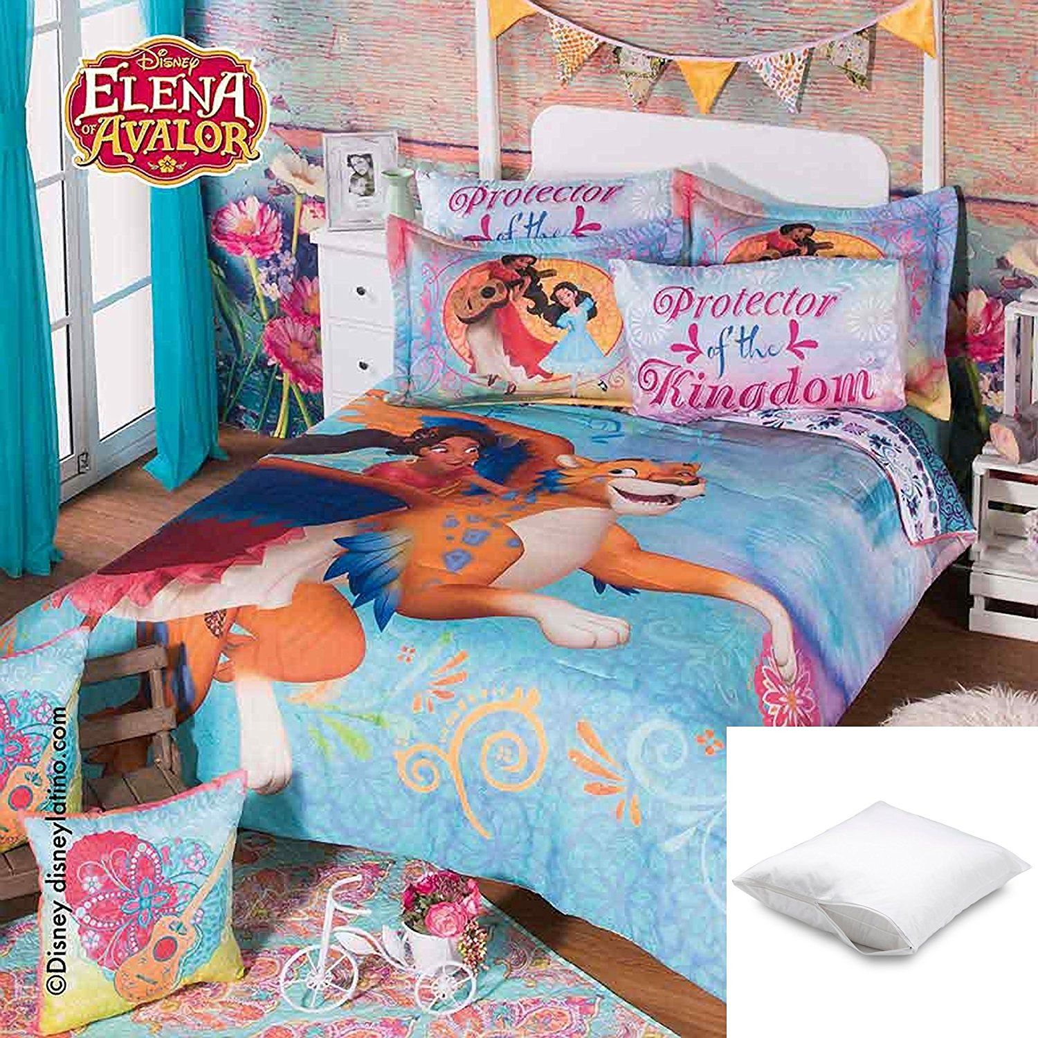 new disney collection girls princess elena of avalor fullsize bedding 9 piece set 1 x comforter 2 x shams 2 x decorative toss pillows 1 x flat sheet 1 x