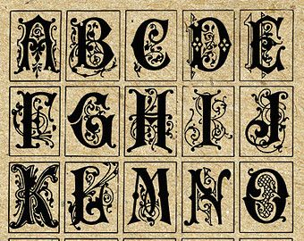 INSTANT DOWNLOAD - Ornate Letters P rintable Antique Alphabet Vintage ...
