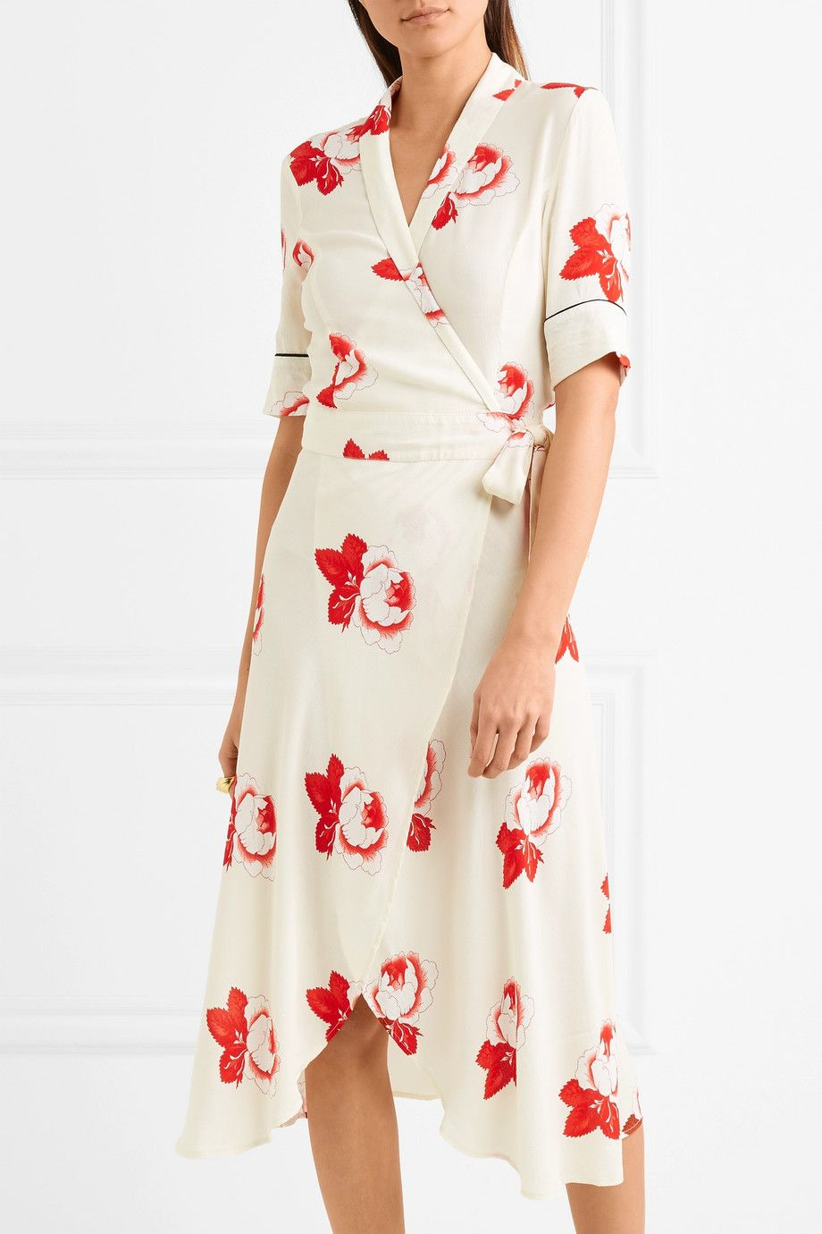 ddf901410c8 GANNI - Floral-print crepe de chine wrap dress