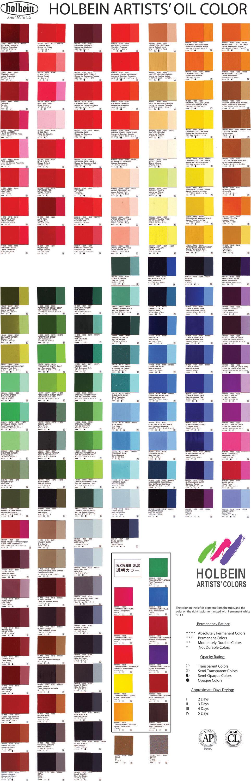 Holbein Oil Colour Chart  Art Supplies    Colour