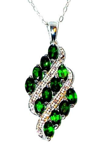 Russian chrome diopside pendant with chain 3 carats chrome and russian chrome diopside pendant with chain 3 carats aloadofball Image collections