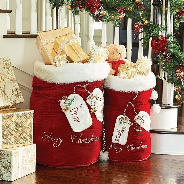 Red Velvet Santa Big Bag Christmas Props Santa Bags