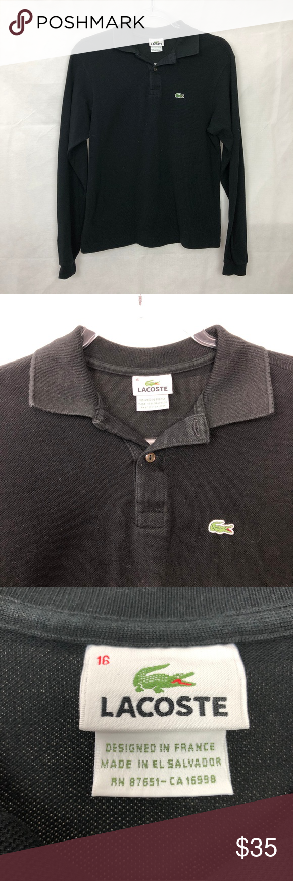 e51ae8656 LaCoste Youth Black Long Sleeve Polo Shirt 16 -LaCoste youth boys black  long sleeve polo shirt -Size 16 -100% cotton -Laying flat -Underarm to  Underarm 18' ...