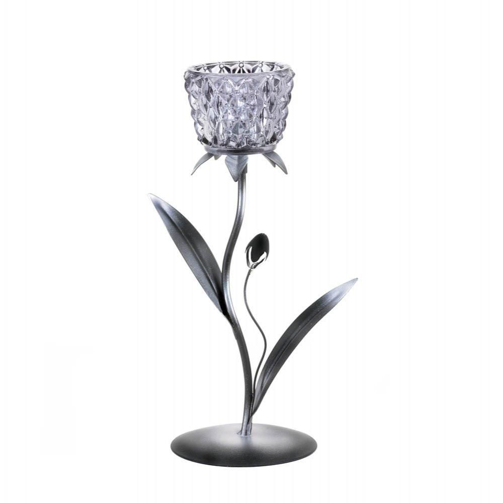 Silvery Glass Bloom Candleholder
