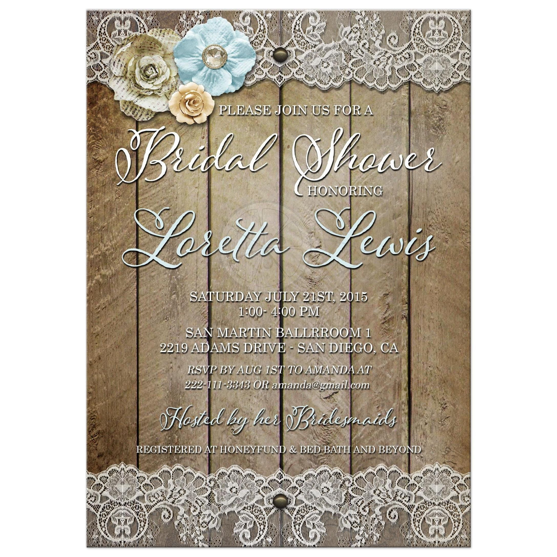 Shabby Chic Wood and Floral Rustic Bridal Shower invite #weddings ...