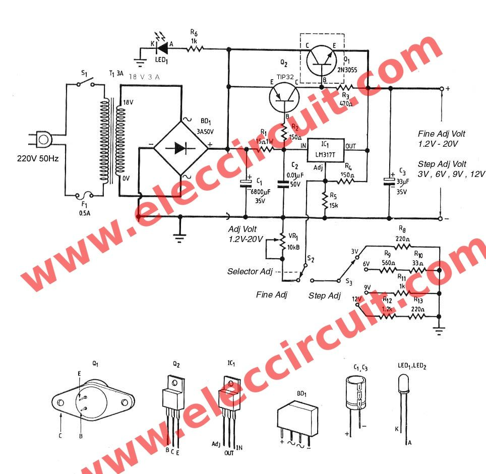 Lm317 2n3055 3a Variable Power Supply Electronics Projects Circuits Power Supply Design Power Supply Circuit Design