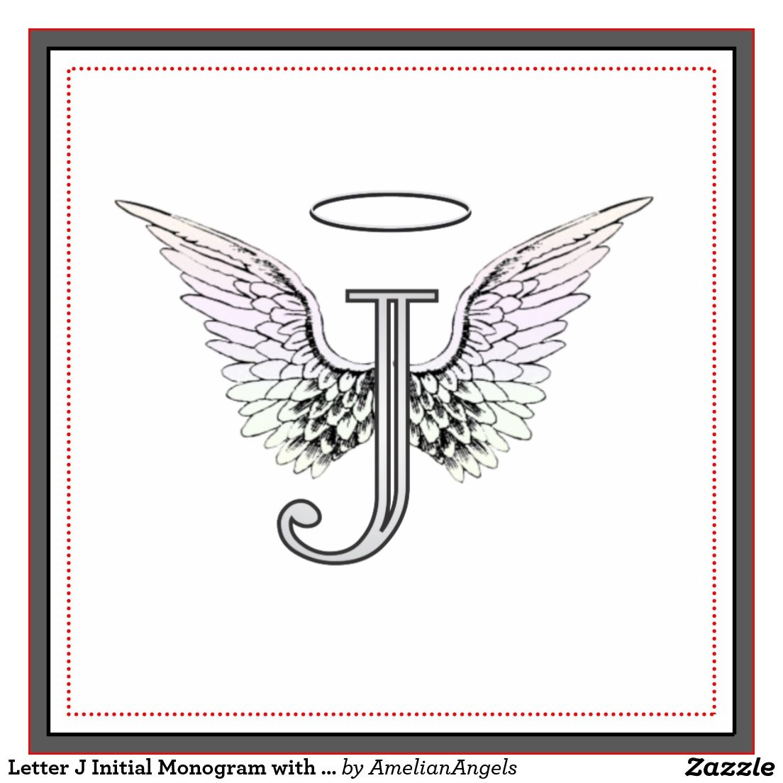 letter j initial monogram with angel wings amp halo tile