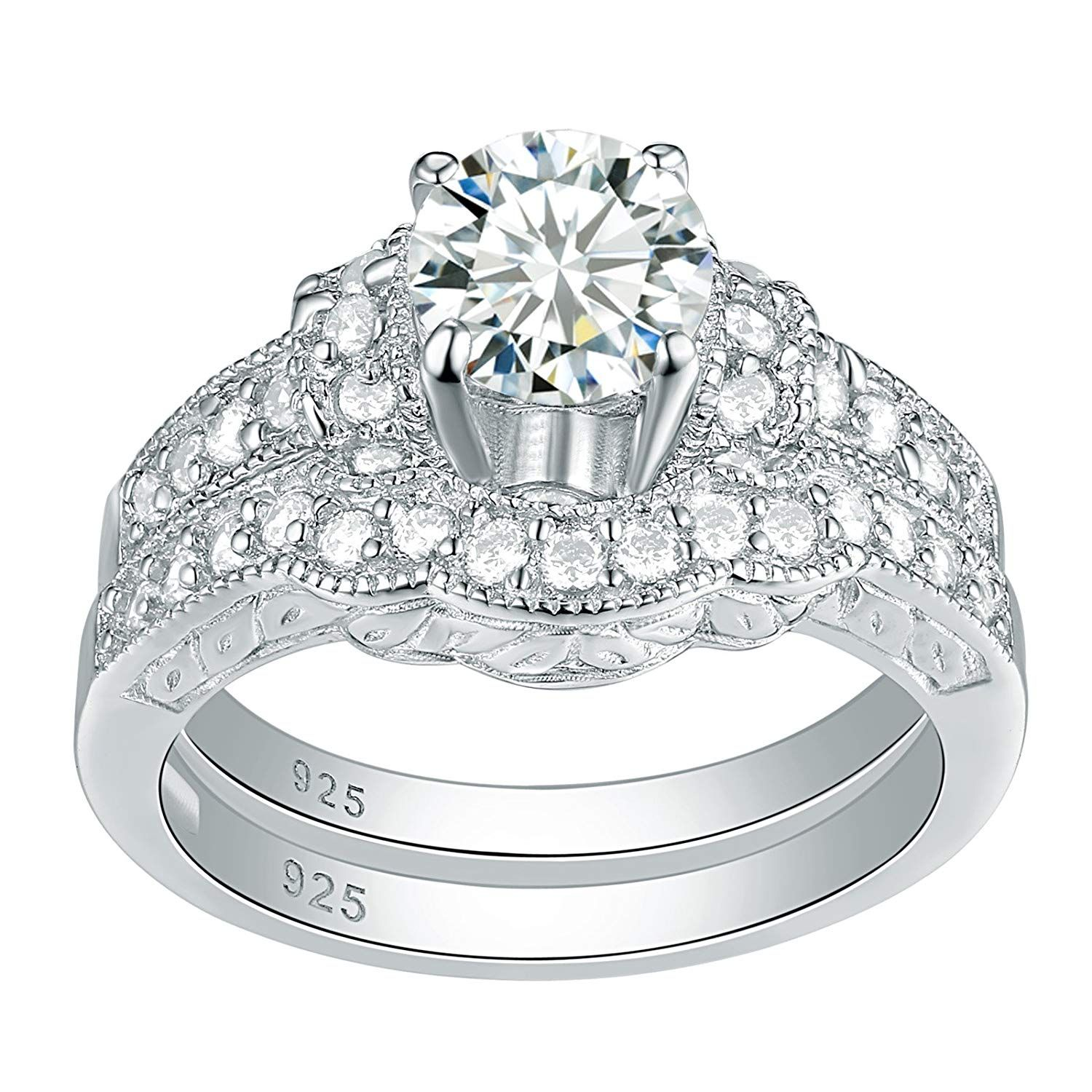 Newshe Vintage Round AAA Cubic Zirconia 10K GP Engagement
