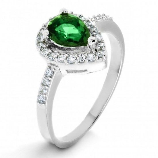 Silver Emerald Green Pear-Cut Cubic Zirconia Halo #Ring