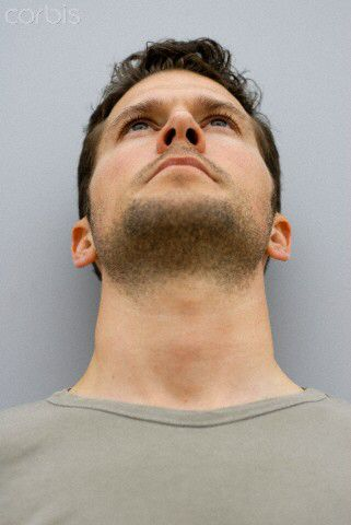Upward View Face Angles Man Looking Up Portrait