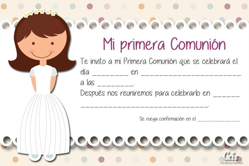 Dibujos De Comunion Para Imprimir Y Colorear: Invitaciones A La Primera Comunión Para Imprimir Con Una