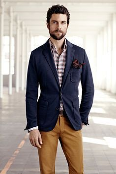 Navy jacket with check shirt and chinos
