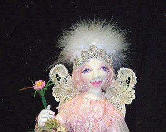 "Victorian Pink Fairy 15"" OOAK Cloth Doll & Display By Caroline Erbsland Signed"