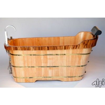Alfi Natural Oak Wood Freestanding Bathtub