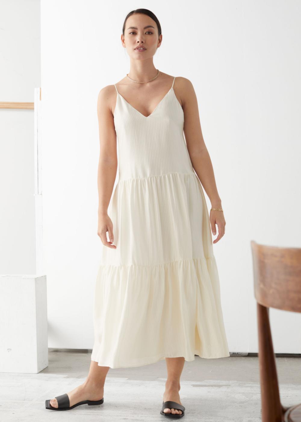 Tiered Viscose Midi Dress Dresses Midi Dress Mini Dress With Sleeves [ 1400 x 1000 Pixel ]