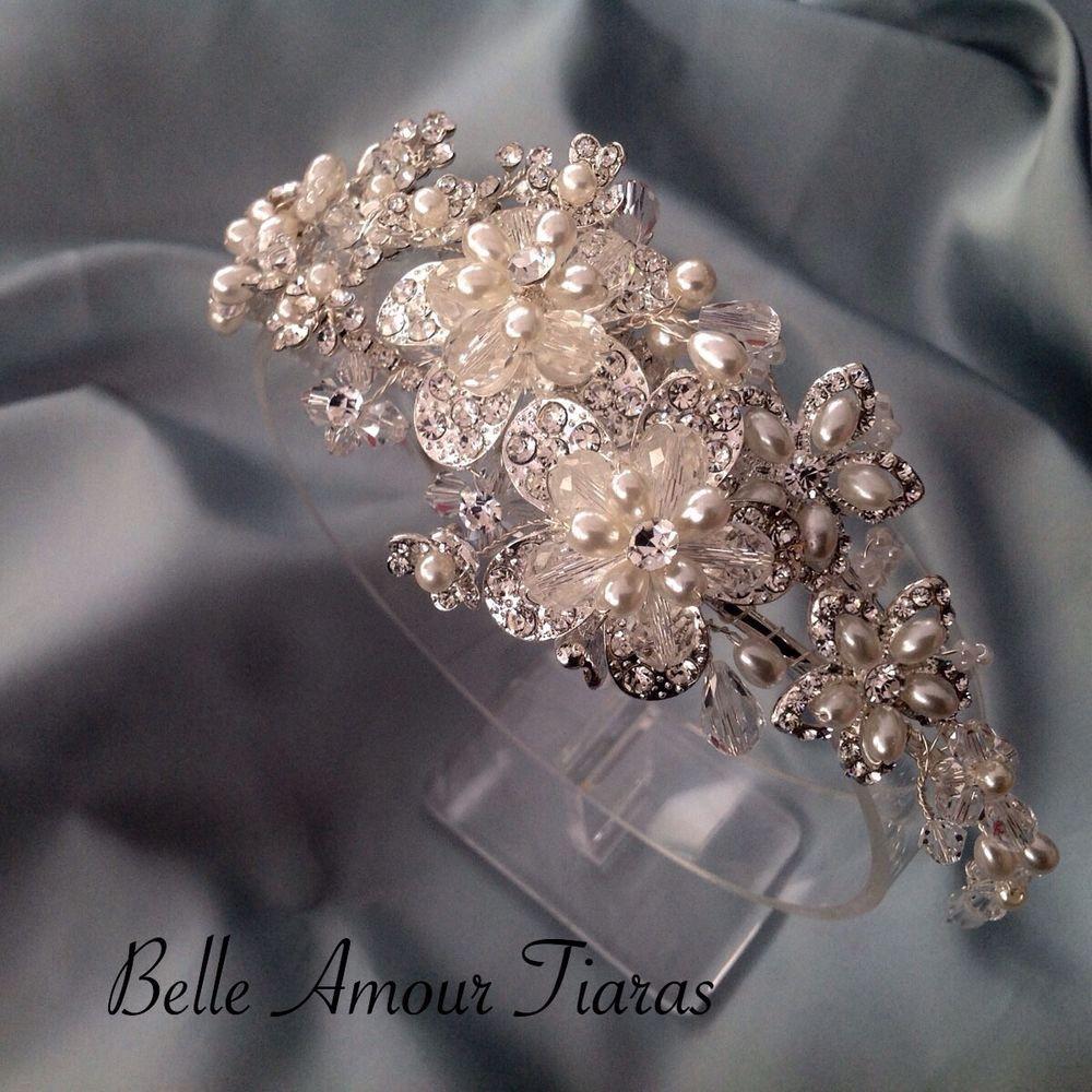 Wedding Hairstyle Prices: Bridal Tiara, Luxury Side Detailed Silver HALF PRICE