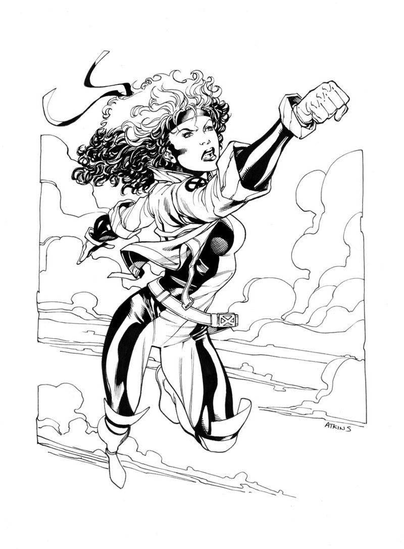 X Men Month Rogue Sotd By Robert Atkins Cartoon Coloring Pages Drawing Superheroes Rogues