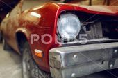 Restoration of classic car. Close up view front side classic car, front Stock Ph…