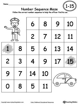 **FREE** Practice Number Sequence With Number Maze 1-15 Worksheet. Practice recognizing number sequence 1 through 15 with this fun maze printable. Your child will follow the correct number sequence to complete the maze.