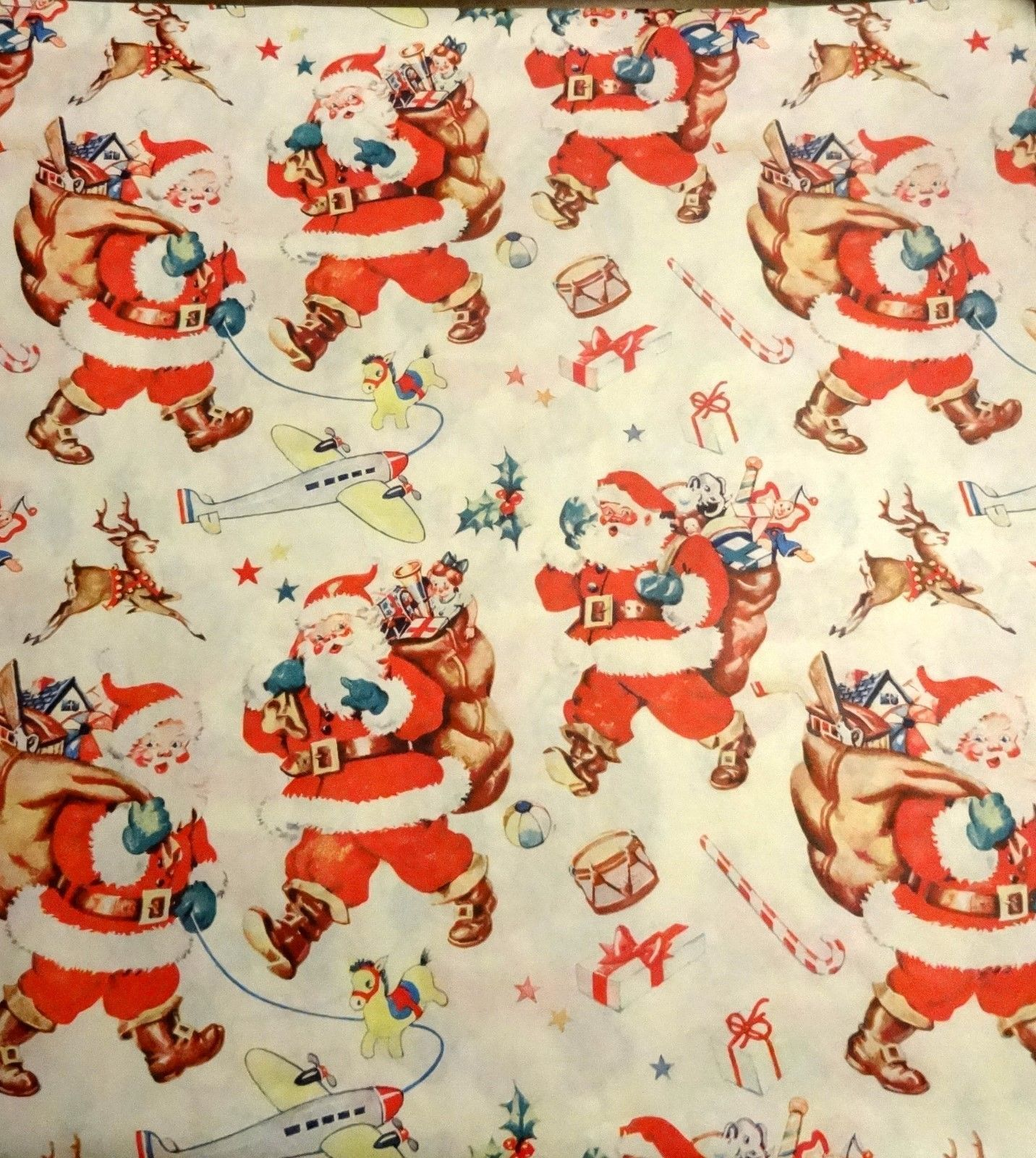 Vintage 1950 S Christmas Wrapping Paper Santa And His Bag Nos Ebay Vintage Christmas Wrapping Paper Vintage Christmas Christmas Wrapping Paper