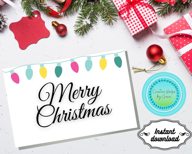Printable Christmas Card Merry Christmas Card Template Folded Christmas Card Download Christma Christmas Card Template Christmas Cards Merry Christmas Card