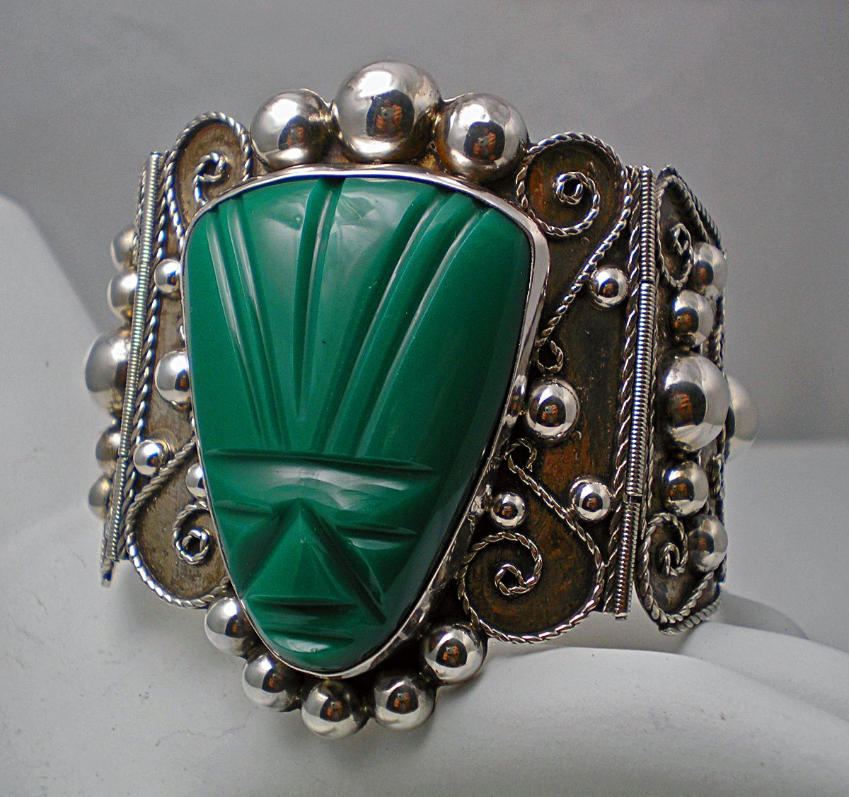 Vintage Mexican Huge Green Stone Bracelet 980 Silver