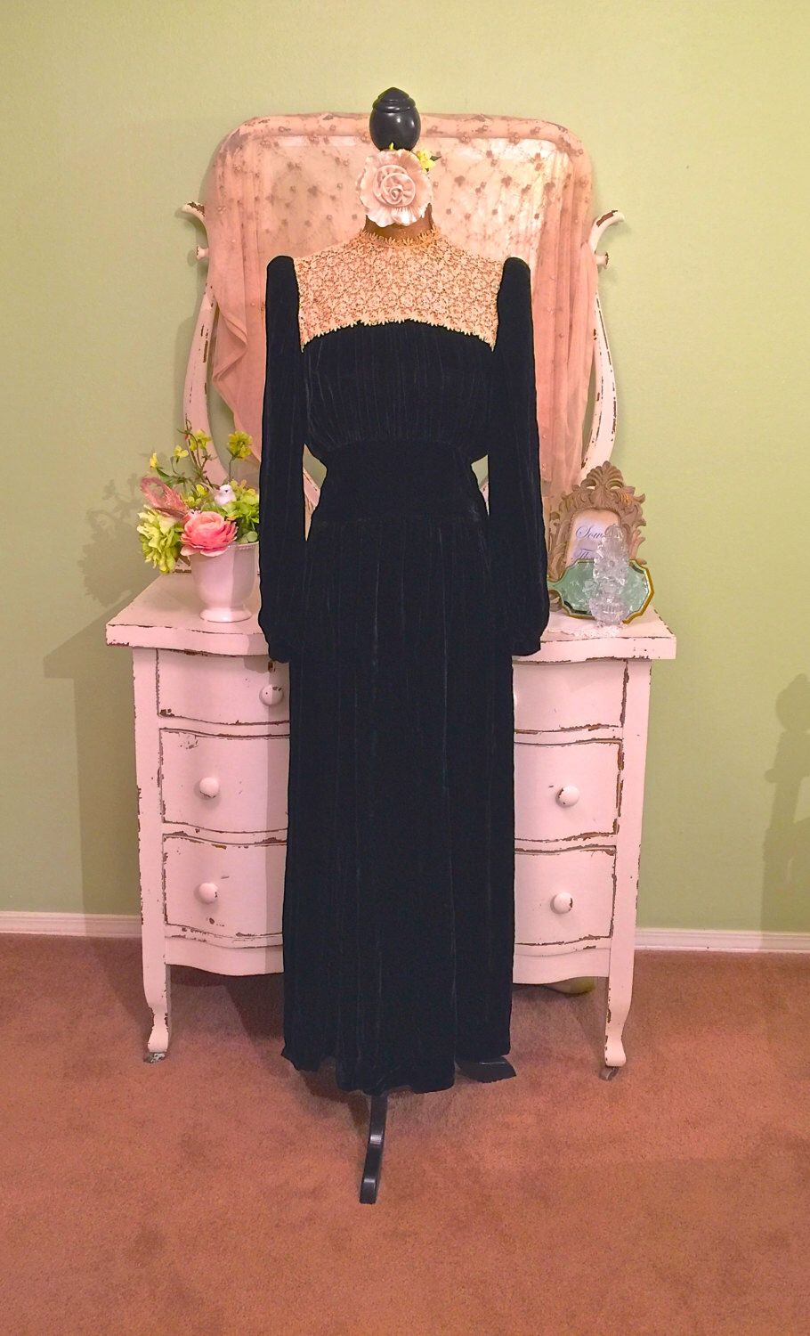 S s evening gown lace rhinestone dress s wwii dress
