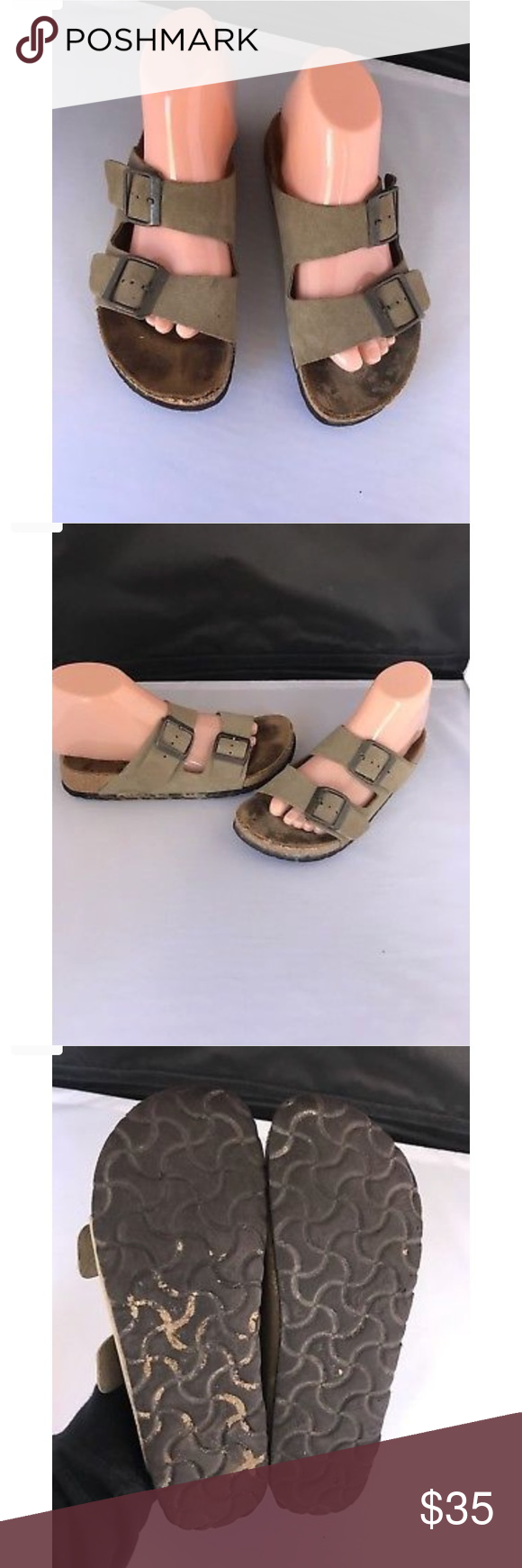 c806c2cc1423 Basic Newalk Birkenstock Two Strap Sandals Sz 37 asic Newalk Birkenstock  Two Strap Beige Sandals 37