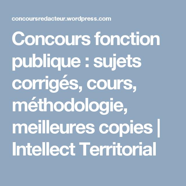 Concours Fonction Publique Sujets Corrigés Cours