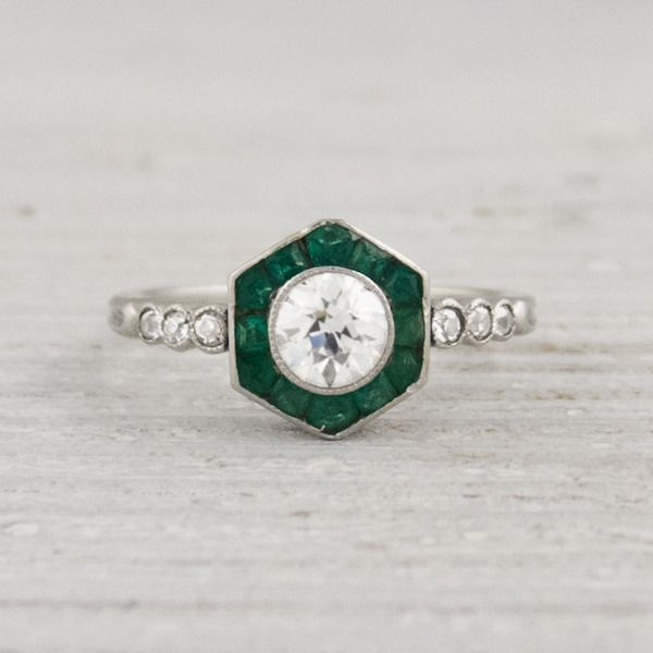 .50 Carat Vintage Diamond and Emerald Engagement Ring | Vintage & Antique Engagement Rings | Erstwhile Jewelry Co NY