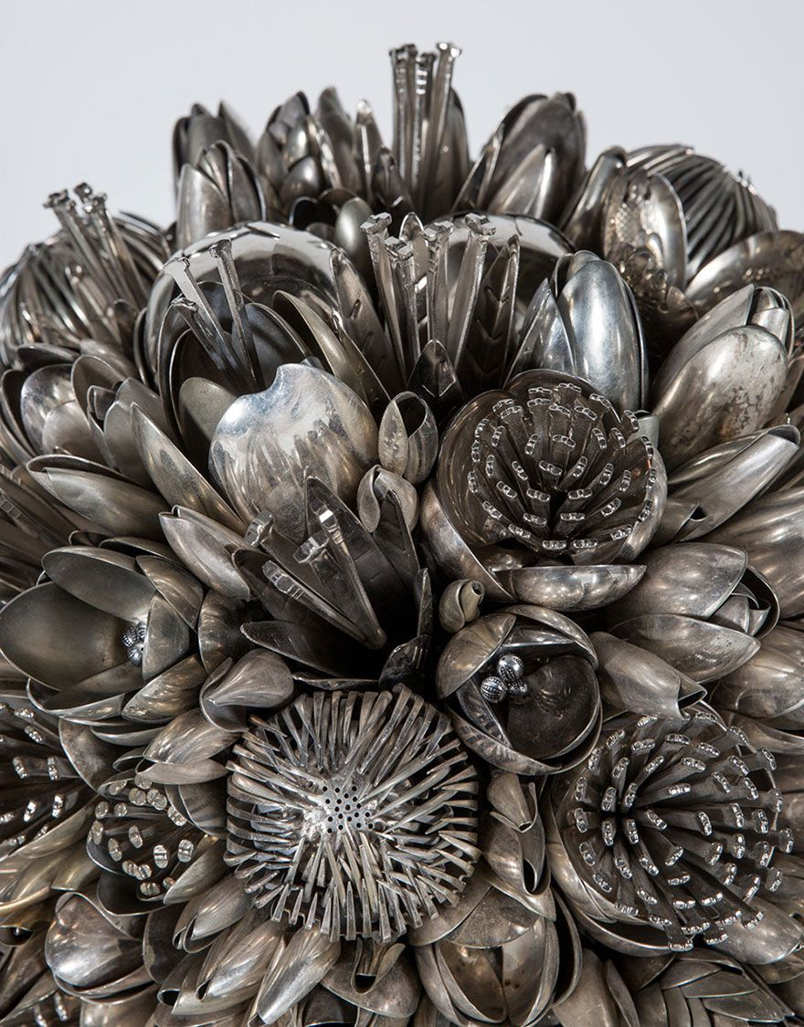 Artists Turns 100s Of Old Silver Spoons Knives And Forks