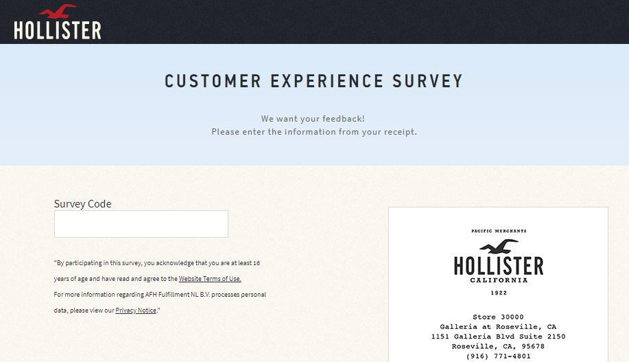 Hollister want your legal feedback regarding its products and