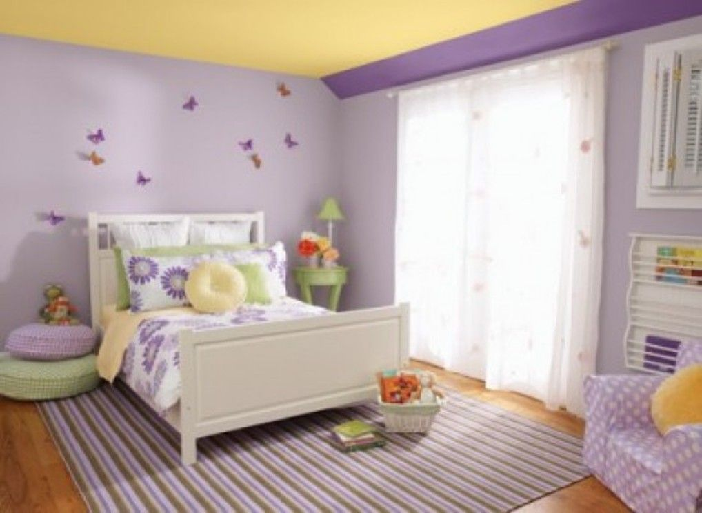 Paint ideas for girls bedroom 2014 purple and yellow are for Kids paint bedroom ideas