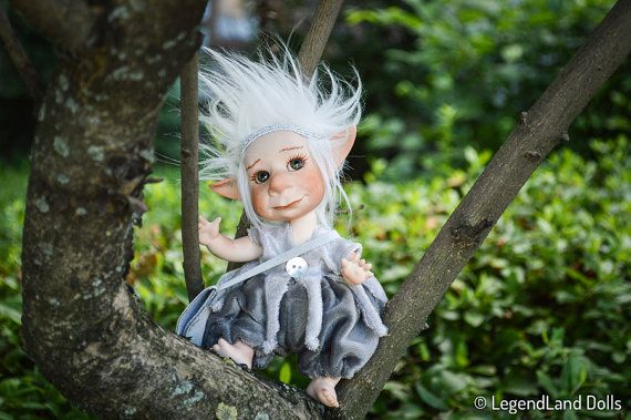 Navi posable art doll, goblin doll, ball jointed doll, BJD doll, porcelain doll, goblin art doll, fantasy figure, handmade doll, figurine  Adorable Navi is a little Silver Goblin. He often seeks his beloved Luna the Moon Fairy in the gardens - if you are lucky you can meet them. They are like Romeo and Juliet. If he does not play with his darling, he likes to talk with humans too.  Navi is a porcelain ball jointed doll. He has handmade eyes and handmade wig. He is entirely sculpted, molded…
