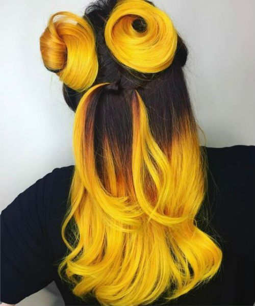 long hair models - 21 of the warm yellow hair color with two updos for long hair   - lange Haarmode