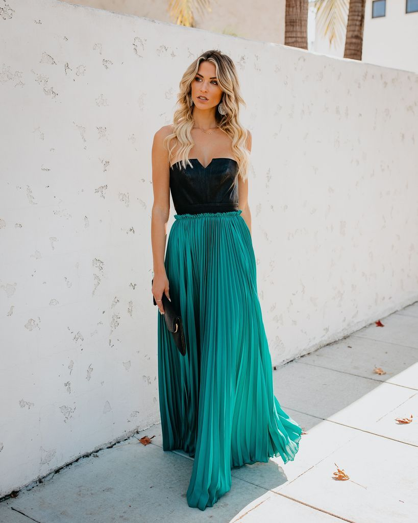 ea26ae193a9 Pop Of Glam Faux Leather Contrast Pleated Maxi Dress - Teal - FINAL ...