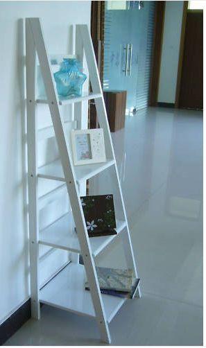 High Gloss 4tiers Bookshelf Bookcase Ladder Shelves