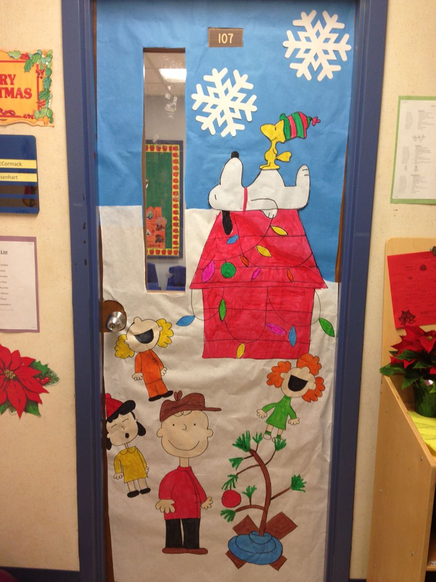 Classroom Decoration Ideas For Competition ~ My classroom door charlie brown christmas crafty