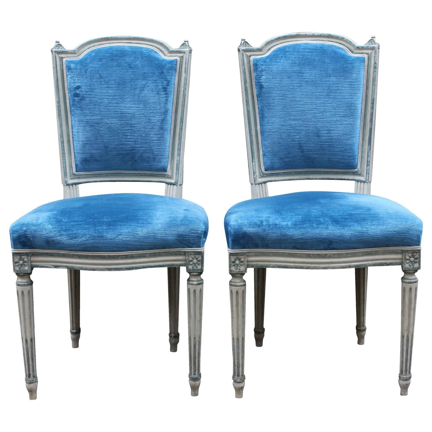 Pair Of French Blue And White Painted Louis XVI Style Dining Side Chairs,  1940s