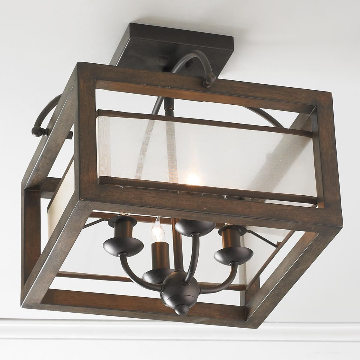 Rustic Ceiling Light Rustic Light Fixture Rustic Wood: Square Wood Frame And Sheer Ceiling Light A Rustic Wood