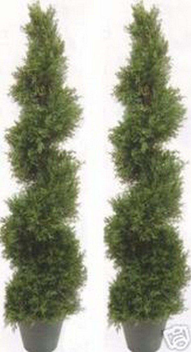 Silk Tree Warehouse Three 4 Foot Artificial Topiary Cedar Trees Potted Indoor Outdoor Plants