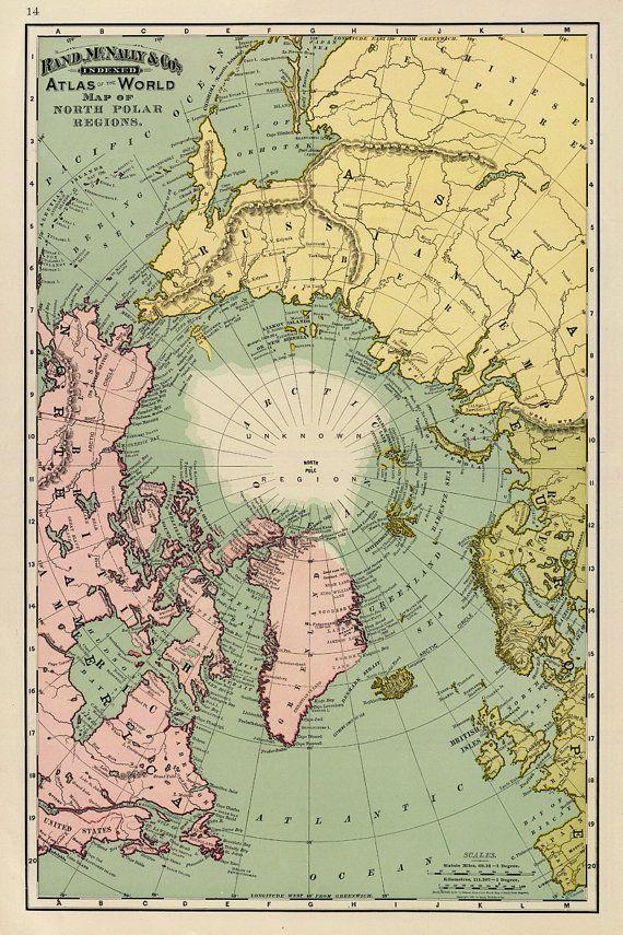 Map of North Pole regions - Arctica map fine print on paper or canvas #framesandborders