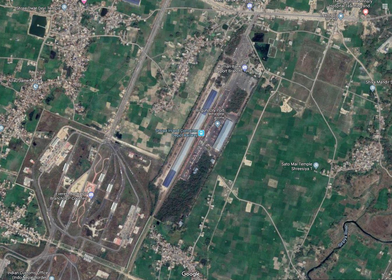 Google Satellite map view of Birgunj Dry port, Sirsiya ...