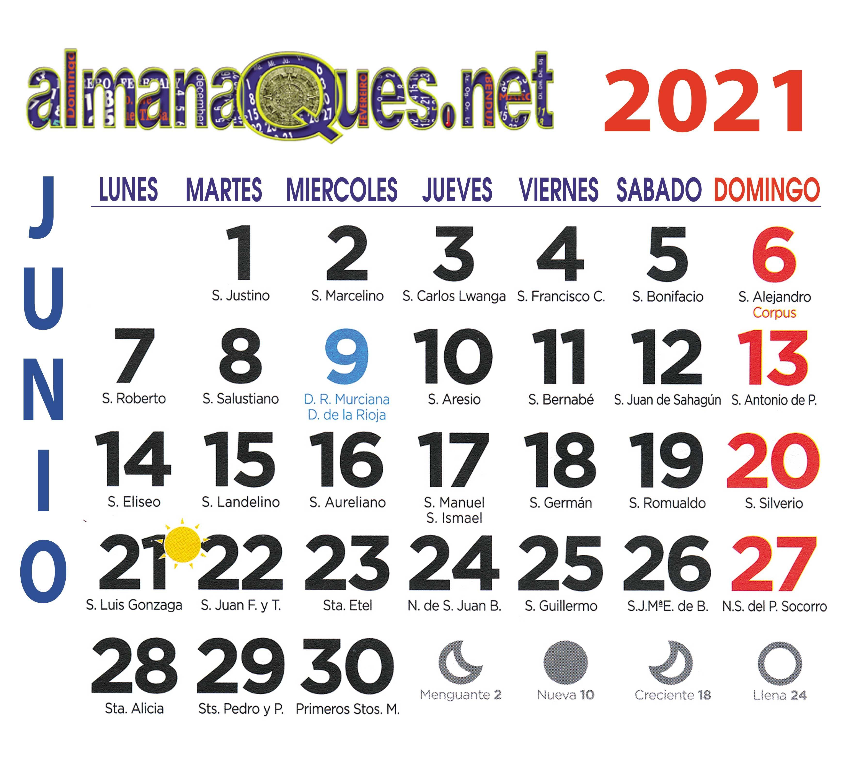 Calendario 2021 Con Santoral Y Lunas Calendario Con Santoral Calendario Santoral