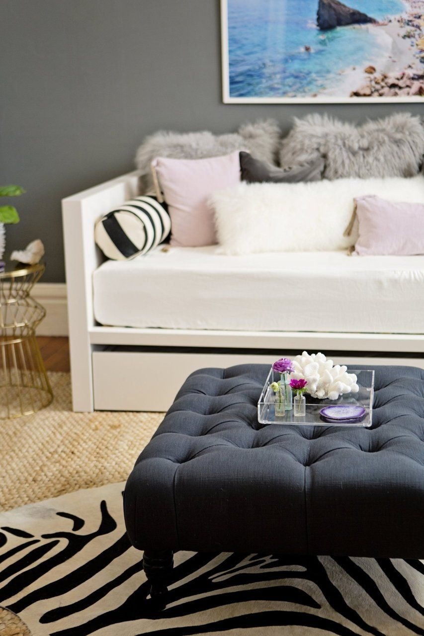 Parsons Daybed + Mongolian Lamb Pillows + Acrylic Tray from west elm