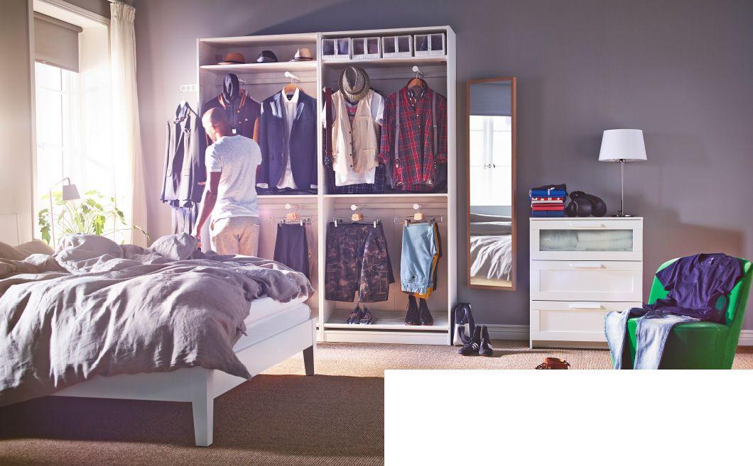 schlafzimmer u a eingerichtet mit brimnes kommode mit 3 schubladen in wei frostglas pax. Black Bedroom Furniture Sets. Home Design Ideas