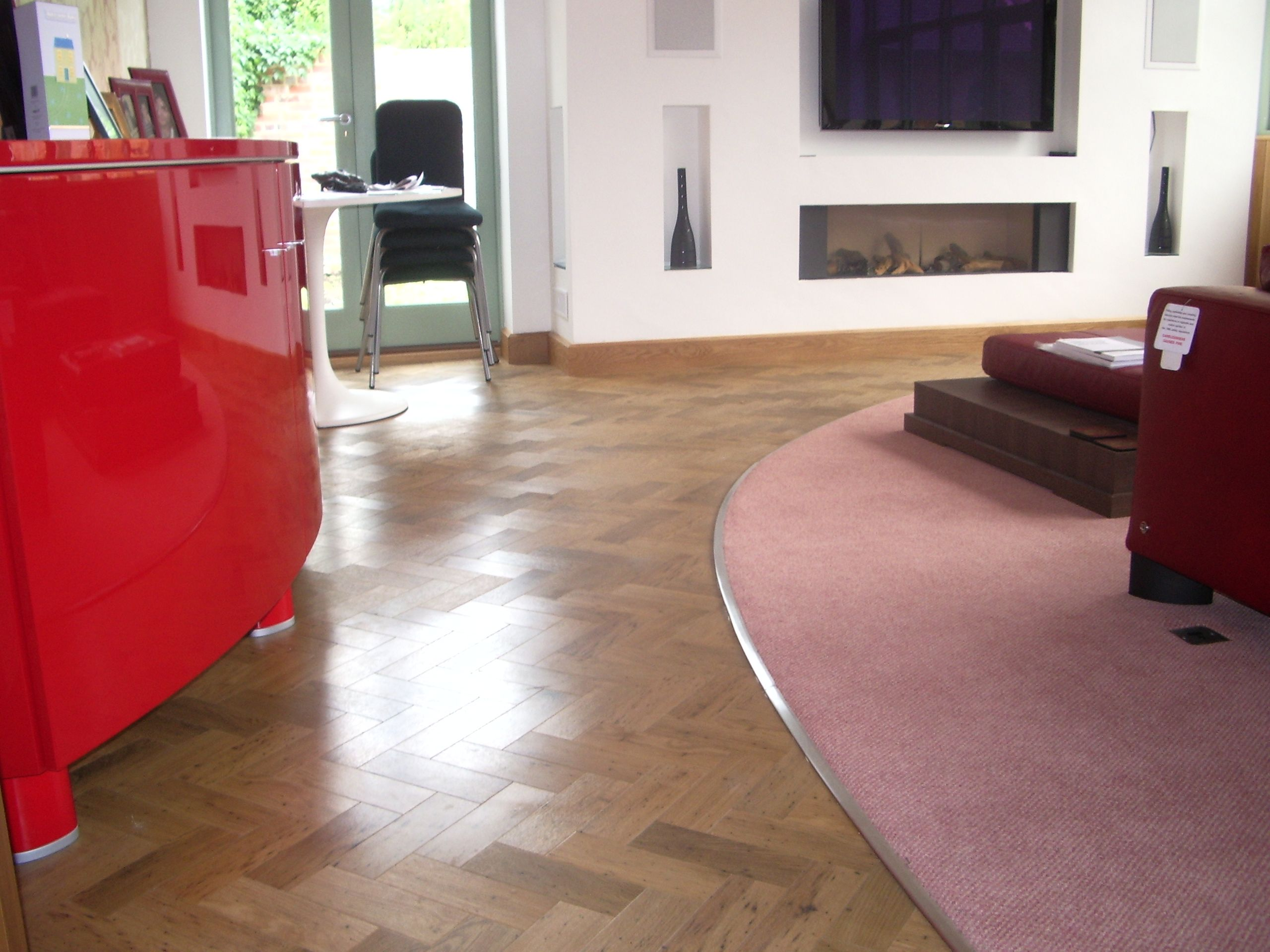 Amtico Wood Block Design With Carpet Curved Stainless