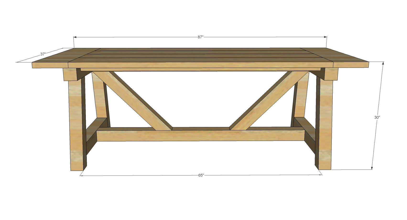 Ana white build a 4x4 truss beam table free and easy for 4x4 dining table