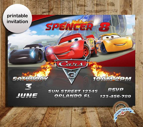 Cars 3 Invitation Party Birthday
