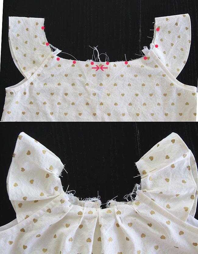 pleated flutter sleeve dress (free pattern in size 4T | Plisado, Oro ...